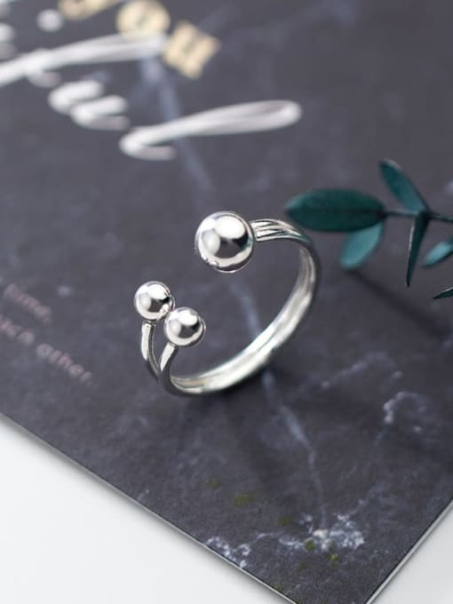 Rosh 925 sterling silver bead  ball minimalist free size ring 1