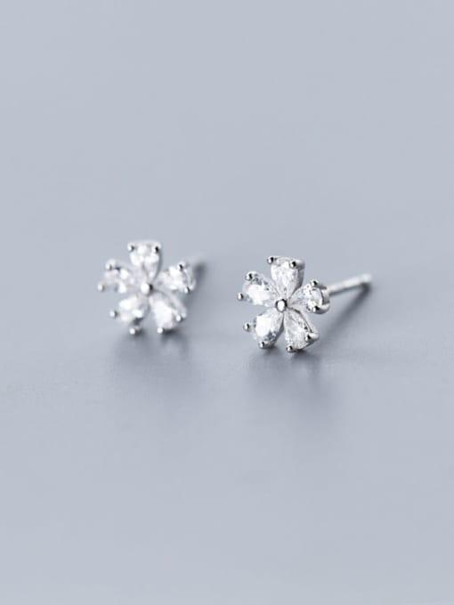 Rosh 925 Sterling Silver Cubic Zirconia Flower Cute Stud Earring 1