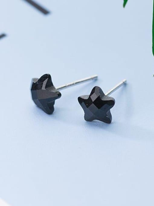 Rosh 925 Sterling Silver Cubic Zirconia Black Geometric Minimalist Stud Earring 4