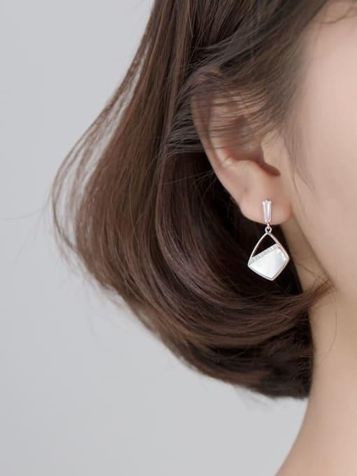 Rosh 925 Sterling Silver Shell Geometric Minimalist Drop Earring 1