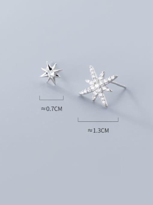 Rosh 925 Sterling Silver Cubic Zirconia  Asymmetry Star Trend Stud Earring 3
