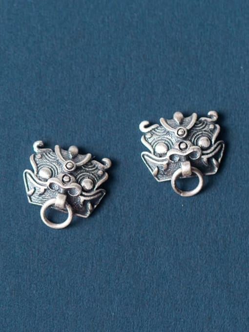 Rosh 925 Sterling Silver Archaic Unicorn Hip Hop Stud Earring 2
