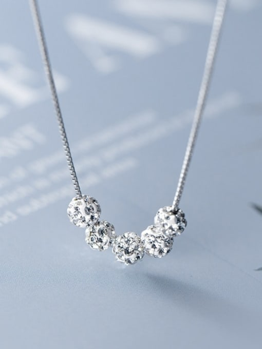 Rosh 925 Sterling Silver Simple removable diamond pendant Necklace 2