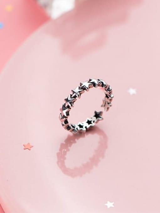 Rosh 925 Sterling Silver  Vintage Star Free Size Ring 0