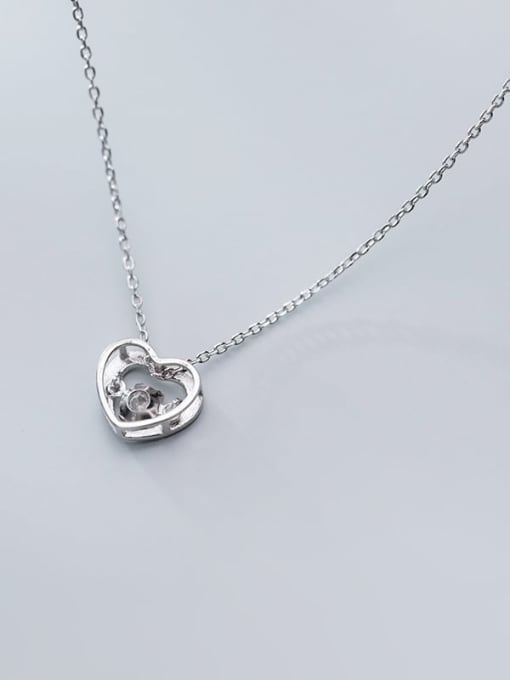 Rosh 925 Sterling Silver Cubic Zirconia Simple hollow heart pendant  Necklace