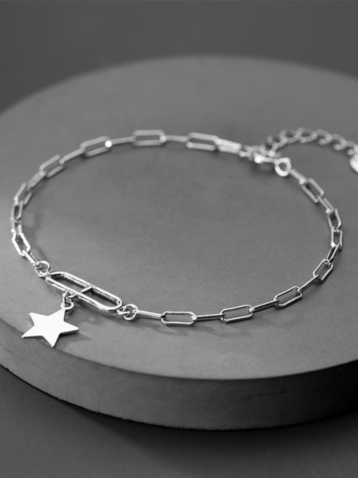 Rosh 925 Sterling Silver Personality oval buckle five-pointed star  Link Bracelet