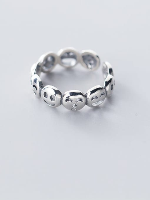 Rosh 925 Sterling Silver  Vintage  Smiley Free Size Ring