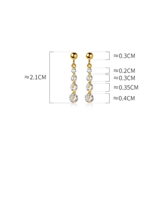 Rosh 925 Sterling Silver Cubic Zirconia  Round Minimalist Drop Earring 2