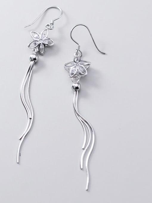 Rosh 925 Sterling Silver Cubic Zirconia White Tassel Minimalist Threader Earring 1