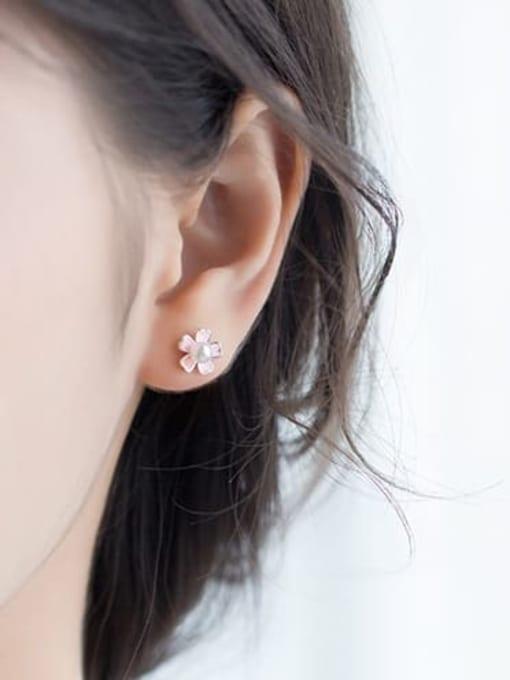 Rosh 925 sterling silver imitation pearl  enamel flower cute stud earring 1
