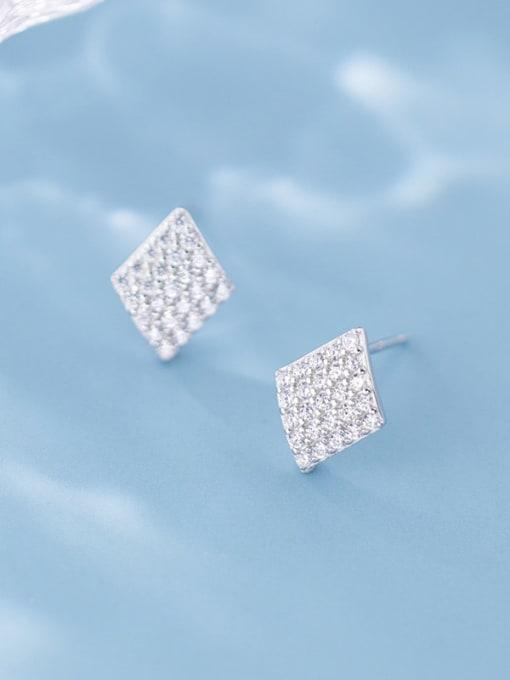 Rosh 925 Sterling Silver Full Rhinestone  Geometric Dainty Stud Earring 1