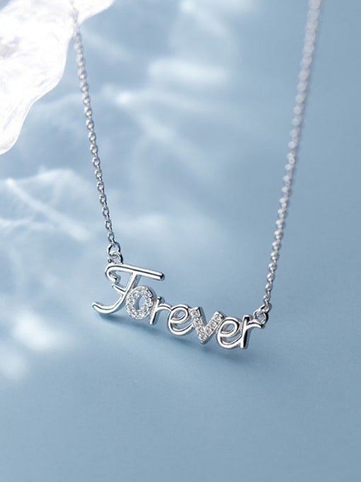 Rosh 925 Sterling Silver Rhinestone White Letter Cute Necklace 3