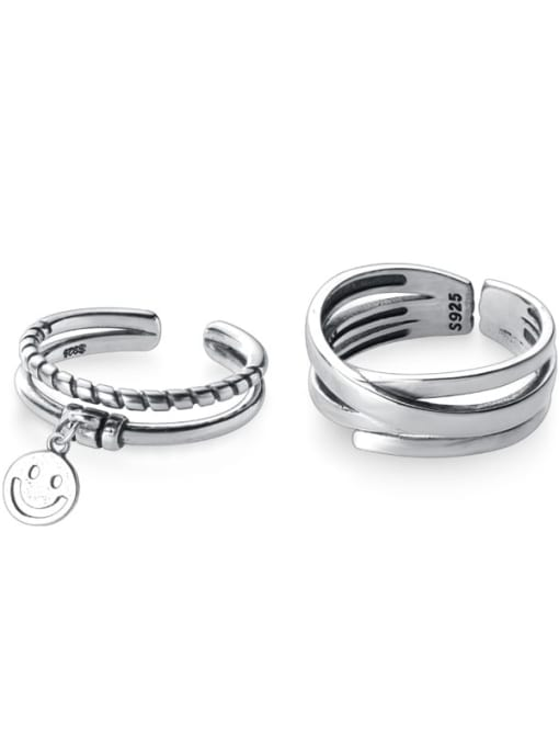 Rosh 925 Sterling Silver Vintage Double twist smile smooth  Ring 0