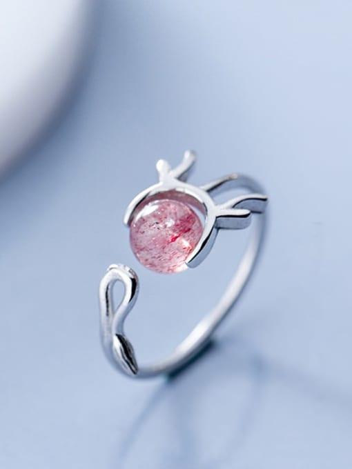 Rosh 925 Sterling Silver Garnet Irregular Minimalist Free Size Ring 0