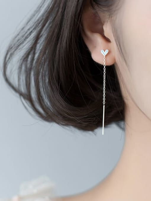Rosh 925 Sterling Silver Rhinestone Blue Heart Minimalist Threader Earring 1