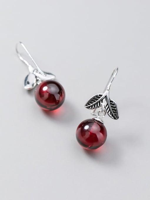 Rosh 925 Sterling Silver Garnet Red Leaf Vintage Hook Earring 1