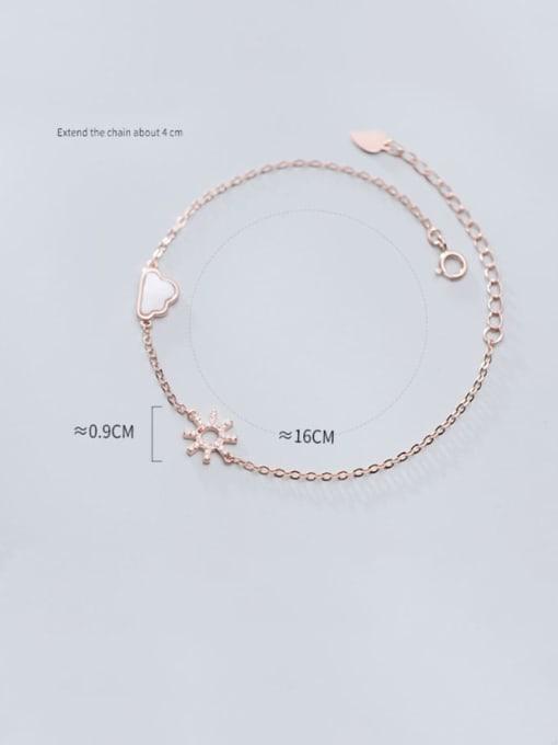 Rosh 925 Sterling Silver Cubic Zirconia Flower Minimalist Link Bracelet 1