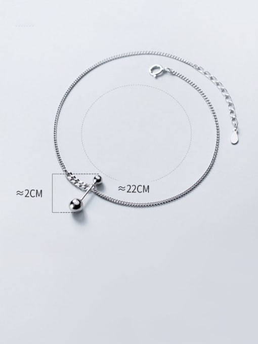 Rosh 925 Sterling Silver  Minimalist  Asymmetrical bead lever  Anklet 2