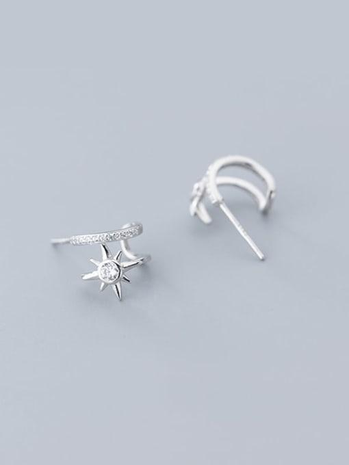 Rosh 925 Sterling Silver Cubic Zirconia  Flower Minimalist Clip Earring 3