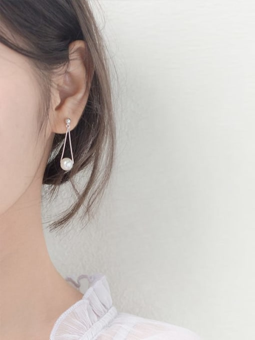 Rosh 925 Sterling Silver Imitation Pearl  Irregular Minimalist Drop Earring 0