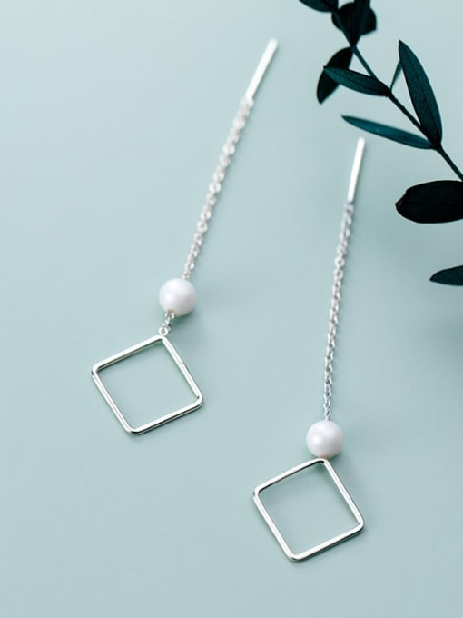 Rosh 925 sterling silver imitation pearl  geometric minimalist threader earring 2