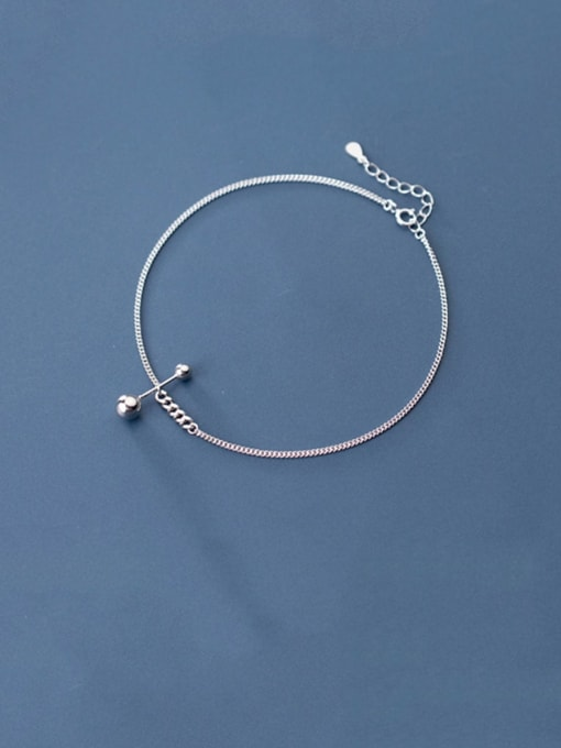 Rosh 925 Sterling Silver  Minimalist  Asymmetrical bead lever  Anklet 0