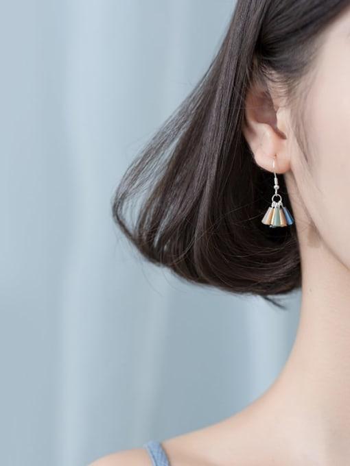 Rosh 925 Sterling Silver Cubic Zirconia Multi Color Geometric Trend Hook Earring