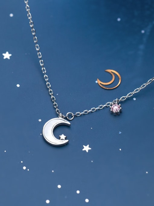 Rosh 925 sterling silver shell  Simple Moon pendant necklace 2
