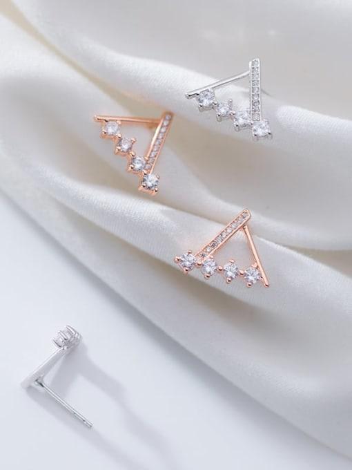 Rosh 925 Sterling Silver Rhinestone  Triangle Minimalist Stud Earring 2