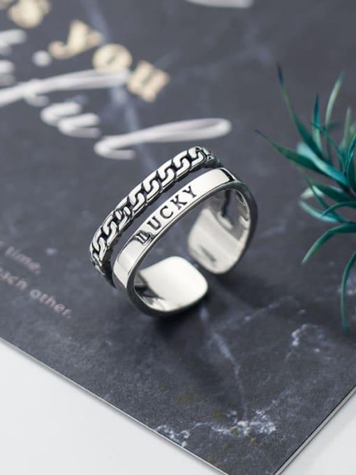 Rosh 925 Sterling Silver Irregular Vintage Stackable Ring 0