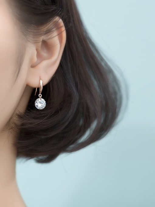Rosh 925 Sterling Silver Cubic Zirconia White Round Dainty Hook Earring 1