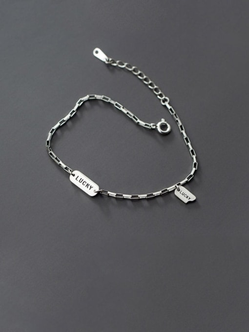 Rosh 925 Sterling Silver  Vintage Lucky Tag Bracelet Link Bracelet