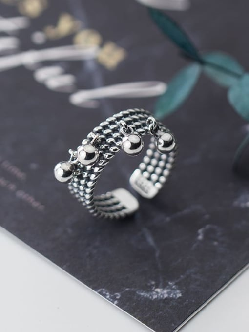 Rosh 925 Sterling Silver   Retro Multilayer Twist Glossy Beads Free Size Ring 3