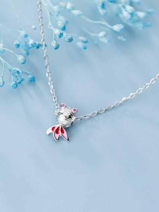 Rosh 925 Sterling Silver  Cute Diamond Gold Fish Pendant Necklace 3
