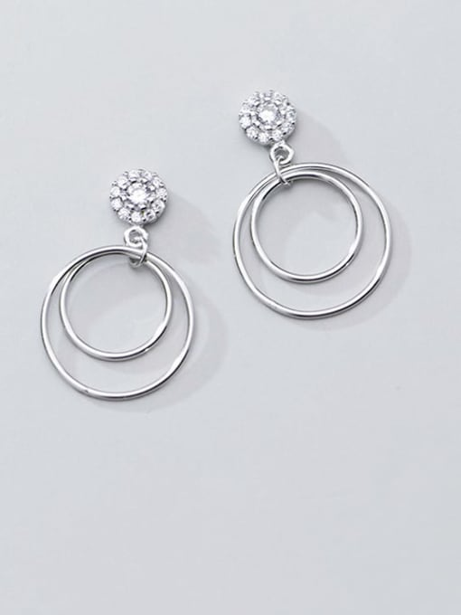 Rosh 925 Sterling Silver Hollow Round Minimalist Drop Earring