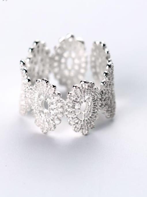 Rosh 925 Sterling Silver  Vintage Flower Free Size Ring 2