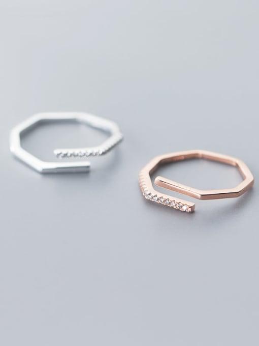 Rosh 925 Sterling Silver Rhinestone  Irregular Minimalist Free Size Ring 0