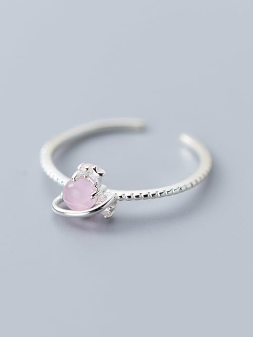 Rosh 925 Sterling Silver Resin Pink Heart Minimalist Synthetic Crystal  Band Ring 2