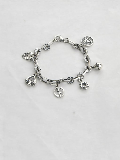 SHUI Vintage Sterling Silver With Simple Retro Hollow Chain  Accessories Pendant Bracelets