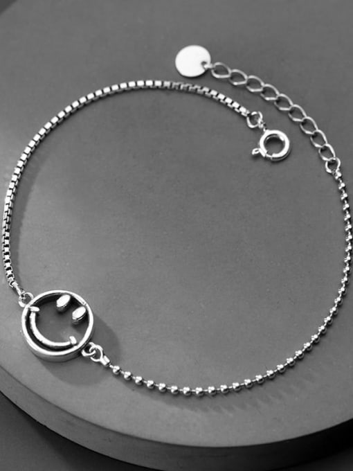 Rosh 925 Sterling Silver Retro style cute smiley face chain Bracelet 1