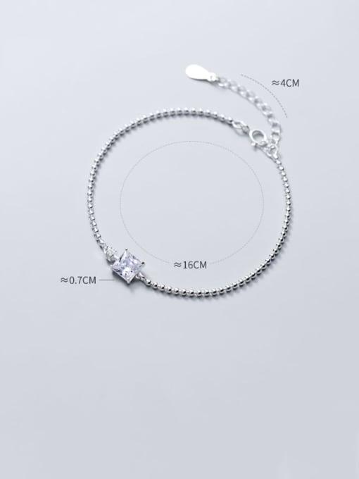 Rosh 925 Sterling Silver Cubic Zirconia White Square Minimalist Beaded Bracelet 1