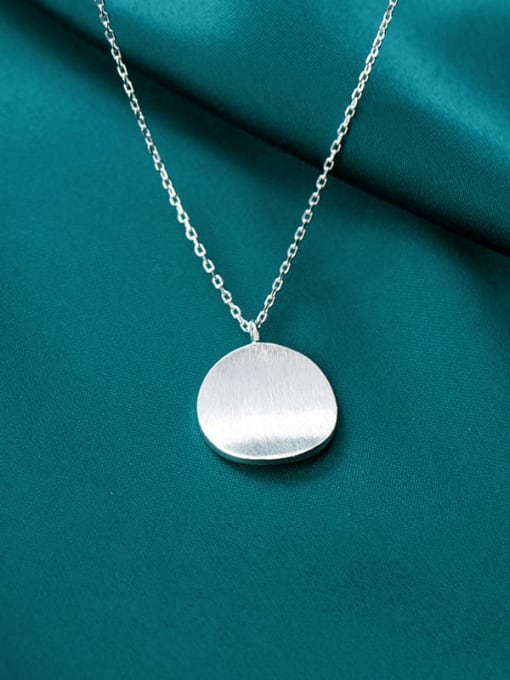 Rosh 925 Sterling Silver  Minimalist Round Pendant Necklace 1