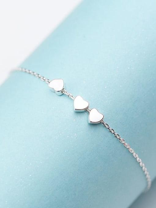 Rosh 925 Sterling Silver Smooth Heart Minimalist Link Bracelet 2