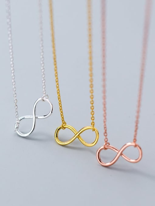 Rosh 925 Sterling Silver Minimalist  Number 8 Pendant  Necklace 3