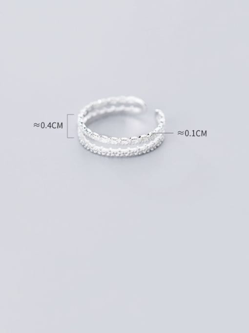 Rosh 925 Sterling Silver Irregular Minimalist Double Layer Lace Free Size Ring 3