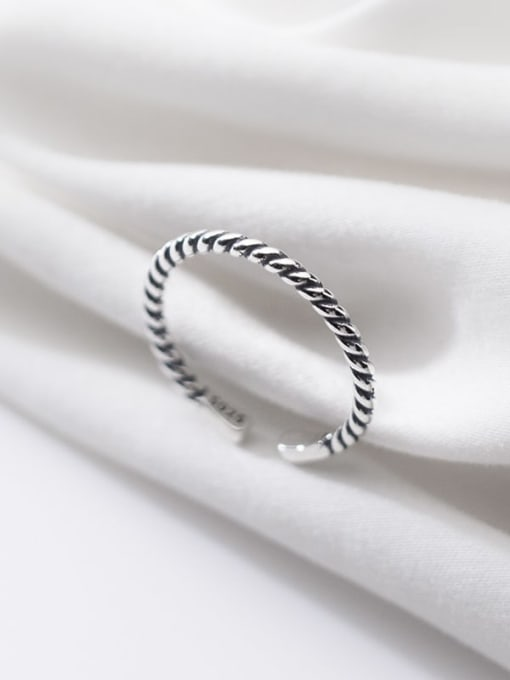 Rosh 925 Sterling Silver Irregular Vintage  Retro twisted rope Band Ring