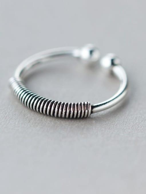 Rosh 925 Sterling Silver Irregular Vintage Screw Thread Free Size  Ring