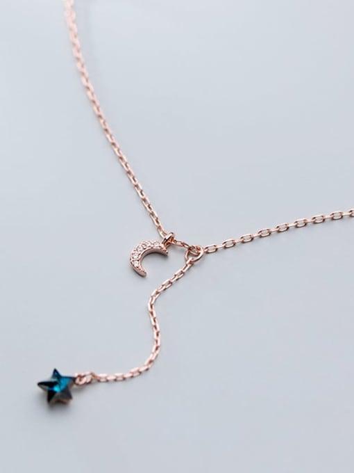 Rosh 925 Sterling Silver Rhinestone  Star Minimalist Lariat Necklace