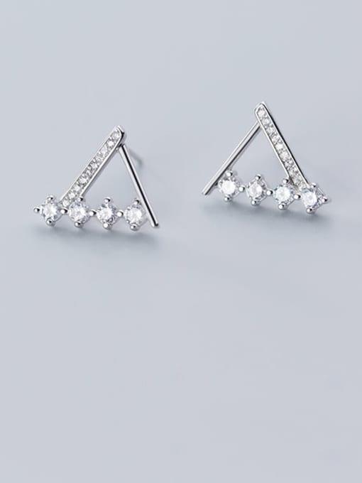 Rosh 925 Sterling Silver Rhinestone  Triangle Minimalist Stud Earring 1