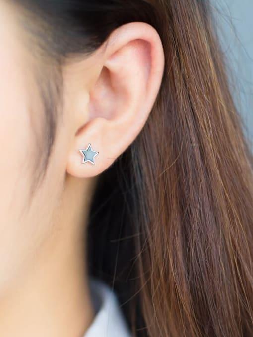 Rosh 925 Sterling Silver Black Enamel Star Minimalist Stud Earring 3
